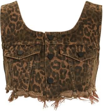 Alexander Wang Leopard Bralette Crop Top