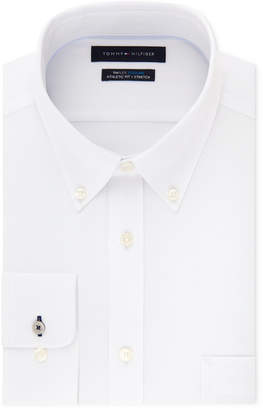Tommy Hilfiger Men's Fitted Th Flex Cooling Stretch Performance White Button Down Dress Shirt