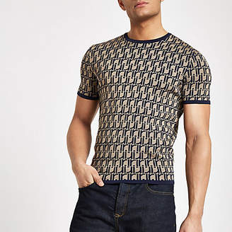 River Island Brown RI monogram muscle fit knit T-shirt