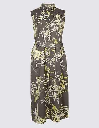 Marks and Spencer Floral Print Spilt Hem Shirt Midi Dress
