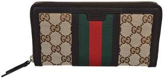 Gucci Vintage Web GG Canvas Zip Around Wallet