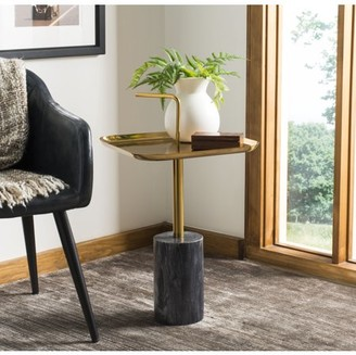 Safavieh Artemis Square Brass Top Side Table with Handle, Brass/Marble