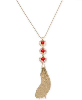 """INC International Concepts I.N.C. Gold-Tone Circle, Ball & Chain Tassel Pendant Necklace, 30"""" + 3"""" extender, Created for Macy's"""