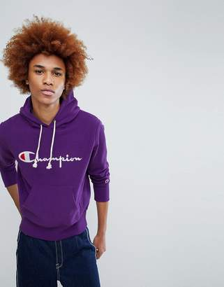 Champion Hoodie With Large Logo In Purple