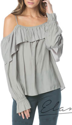 Elan International Cold Shoulder Ruffle Top