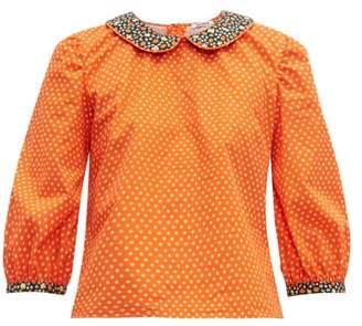 Batsheva Peter Pan Collar Floral Print Cotton Blouse - Womens - Red Multi