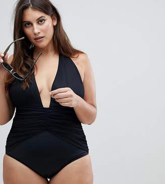 Asos DESIGN Curve Ruched Waist Plunge Swimsuit