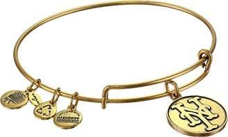 "Alex and Ani Major League Baseball"" Mets Cap Logo Rafaelian Gold-Tone Expandable Bangle Bracelet"