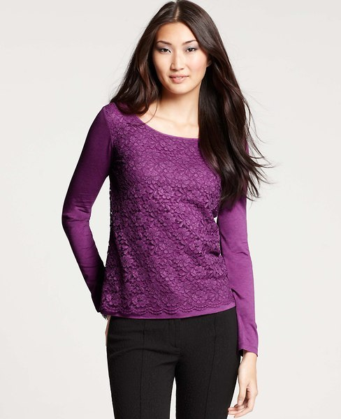 Ann Taylor Lace Front Long Sleeve Tee