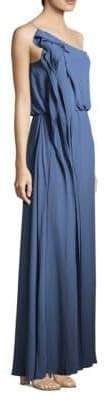 BCBGMAXAZRIA Drape Column One-Shoulder Gown