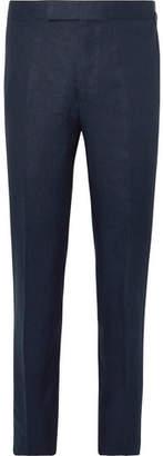 Kingsman Navy Slim-Fit Linen Suit Trousers