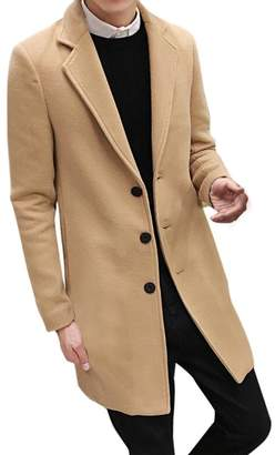 BESSKY Men Formal Single Breasted Figuring Overcoat Long Wool Jacket Outwear (, XXXL)