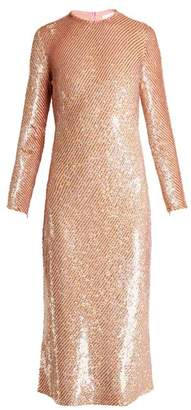Ashish Striped Sequin Embellished Midi Dress - Womens - Pink