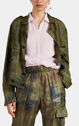 Raquel Allegra Women's Tie-Dyed-Camouflage Silk Military Jacket - Green