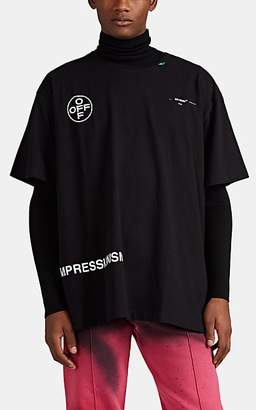 "Off-White Men's ""Impressionism"" Spray-Paint-Logo Cotton T-Shirt - Black"