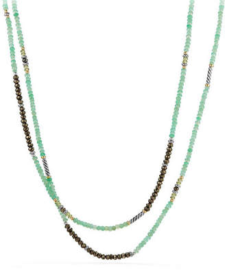 David Yurman Tweejoux® Long Silver Bead Necklace in Green/Gray Stone Mix, 36""