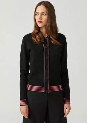 Emporio Armani Cardigan With Collar And Contrasting Striped Details
