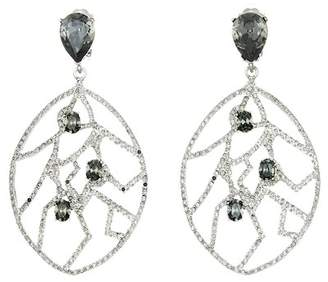 Oscar de la Renta Swarovski Crystal Accent Fern Wrap Clip On Earrings