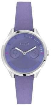 Furla Metropolis Lillac Dial Calfskin Leather Watch