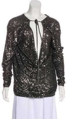 Donna Karan Sequin Long Sleeve Blouse