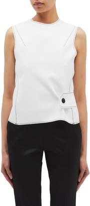 Thomas Laboratories Puttick Cutout cross back button waist crepe sleeveless top