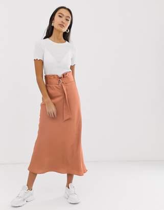 Asos Design DESIGN bias cut satin slip midi skirt with paperbag waist
