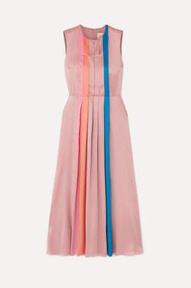 Roksanda Pleated Color-block Silk-satin Midi Dress - Lilac