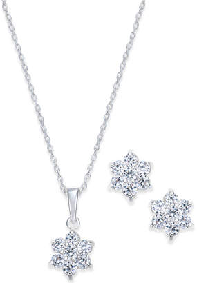 Giani Bernini Cubic Zirconia Flower Pendant Necklace and Stud Earrings Set in 18k Gold-Plated Sterling Silver and Sterling Silver