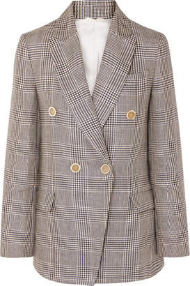 Brunello Cucinelli Double-breasted Checked Linen Blazer