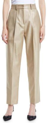 Emporio Armani High-Waist Straight-Leg Metallic-Wool Pants