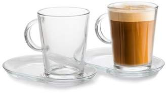 clear Pasabahce 2-Piece 13.25 oz Coffee Cup with Saucer Set,