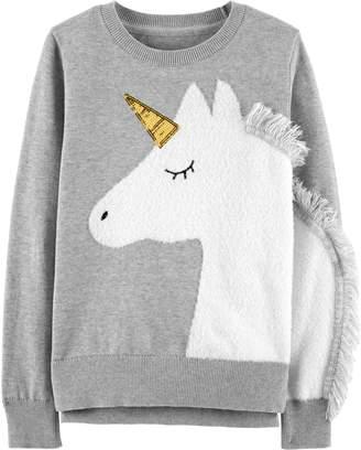 Carter's Girls 4-12 Fuzzy Unicorn Sweater