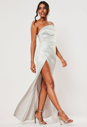 Missguided Bridesmaid Gray Satin One Shoulder Maxi Dress
