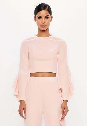 Missguided Pink Ruffle Sleeve Crop Top