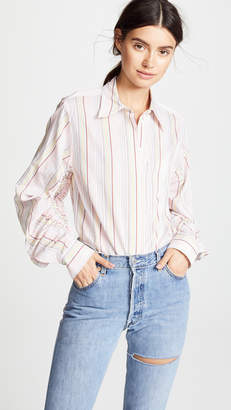 3.1 Phillip Lim Striped Gathered Sleeve Shirt