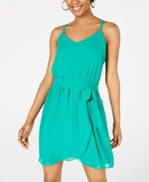 BCX Juniors' Sleeveless Faux-Wrap Dress