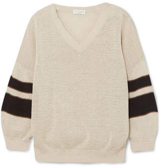 Brunello Cucinelli Beaded Striped Cotton Sweater - Cream