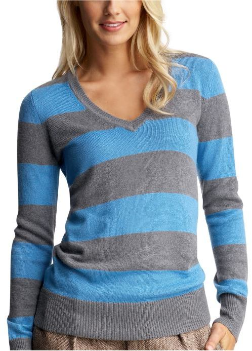 Striped luxe V-neck sweater