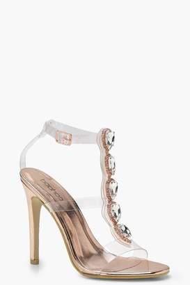 boohoo Hannah Clear Strap Embellished Heels