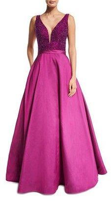 Jovani Sleeveless Embellished Silk Taffeta Ball Gown, Magenta $860 thestylecure.com