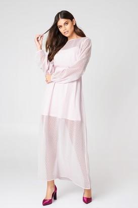 Na Kd Boho LS Dotted Chiffon Maxi Dress