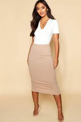 boohoo Petite Jumbo Rib Midaxi Skirt