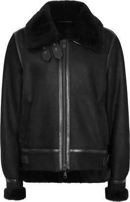 Reiss Arla - Short Shearling Jacket in Black