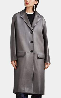 Prada Women's Leather Three-Button Long Coat - Gray