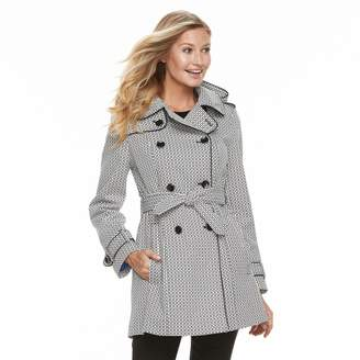London Fog Tower By Women's TOWER by Hooded Geometric Double-Breasted Trench Coat