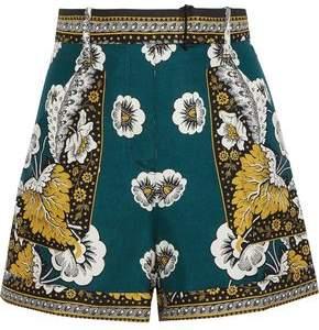 Valentino Belted Printed Silk Shorts