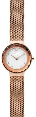 Skagen Leonora Rose Gold Mesh Bracelet Watch, 25mm