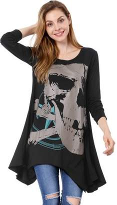 Unique Bargains Women's Long Sleeve Loose High Low T Shirts Blouse Tops