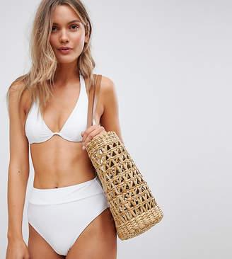 South Beach Mix & Match Exclusive high waist high leg bikini bottom in white