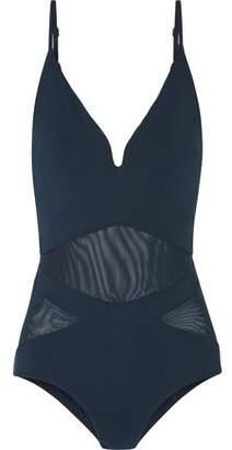 Zimmermann Separates Plunge Open-Back Mesh-Paneled Cutout Swimsuit